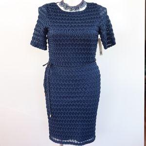 Tacera Navy Blue Lace Overlay Dress